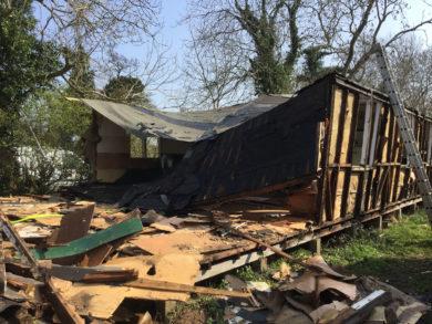 Hut demolition day